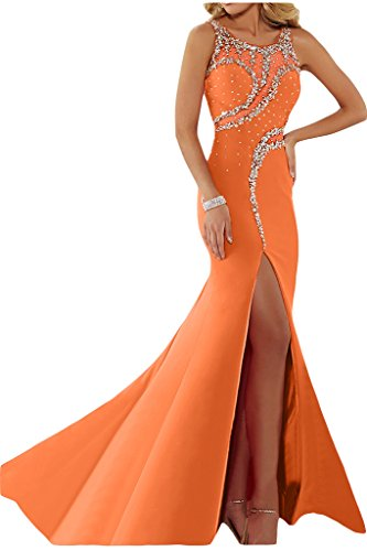 ivyd ressing Femme luxurioes fente col rond pierres Party robe Lave-vaisselle robe robe du soir Orange