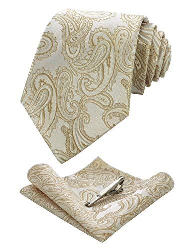 JEMYGINS Graziös Paisley Elegant Herren Krawatte und Einstecktuch mit krawattenklammer Sets (Champagner Gold)