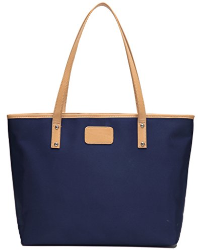 CharmLeaks Womens Nylon Oxford Tote Shoulder Bag Large Designer Shopper Bags Deep Blue