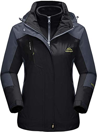 TACVASEN Winterjacke Damen Schwarz mit Fellkapuze Jacke Ski 3-in-1 Jacke Outdoor Wasserdicht Winddicht Fleece Innen Kapuzenmantel Winter Warm Gefüttert Jacken Schwarz Black Warme Winter-jacke