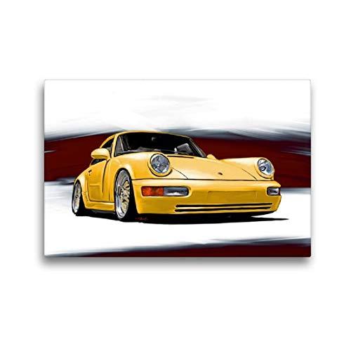 Premium Textil-Leinwand 45 x 30 cm Quer-Format Porsche 911/964   Wandbild, HD-Bild auf Keilrahmen, Fertigbild auf hochwertigem Vlies, Leinwanddruck von Reinhold Autodisegno