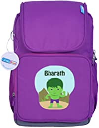 UniQBees Personalised School Bag With Name (Active Kids Medium School Backpack-Purple-Hulk)