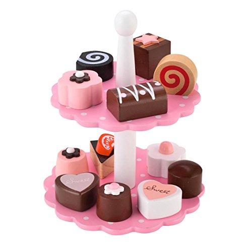 KIDS TOYLAND Kinder-Rollenspiele Spielzeugsets für Mädchen Holzspielzeug Pretend Lebensmittel Set für Kleinkinder Genießbarer Kuchen-Tower Spielzeug Set Kuchen Stand-Pretend Teezeit (13 Pcs)