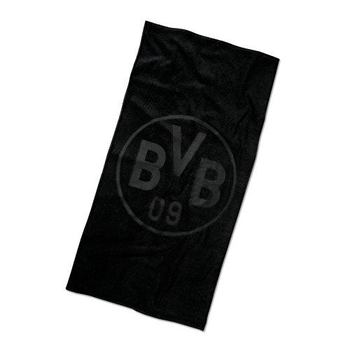 Borussia Dortmund BVB Duschtuch mit Emblem, Baumwolle, Schwarz, 140 x 70 x 1 cm
