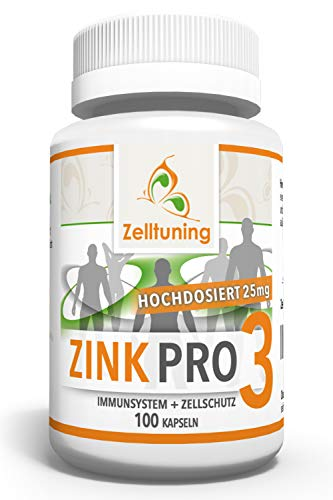 Zelltuning Zink Kapseln, 25mg reines Zink pro Kapsel, HOCHDOSIERT, Höchst Bioverfügbar, 3 Hochwertige Zink Verbindungen, Zink-glycinat (Zink Chelat), Zink-Methionin, Ohne Magnesiumstearat.
