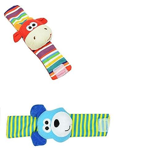 Minetom Unisex Baby Infant Lovely Rattles Toys Bug Wrist Strap Cute Anti Slip Panda Animal Print Socks Foot Toddler Socks Gift For Kids Wrist Strap C One