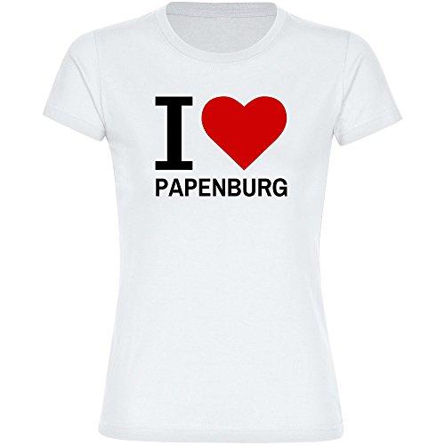 Multifanshop T-Shirt Classic I Love Papenburg weiß Damen Gr. S bis 2XL, Größe:XL