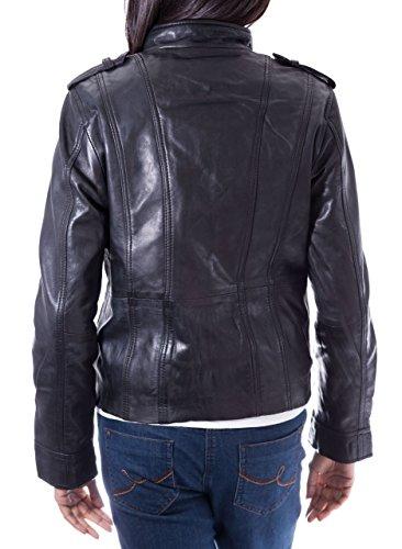 Veste de vŽlo ˆ la mode en cuir mžr en cuir avec collier de style mandarin. Noir