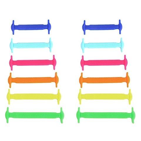 NUOLUX 12pcs No Tie Shoe Laces kids Silicone Elastic Shoelace Waterproof Silicon Sneaker Shoe Laces (Multicolor)