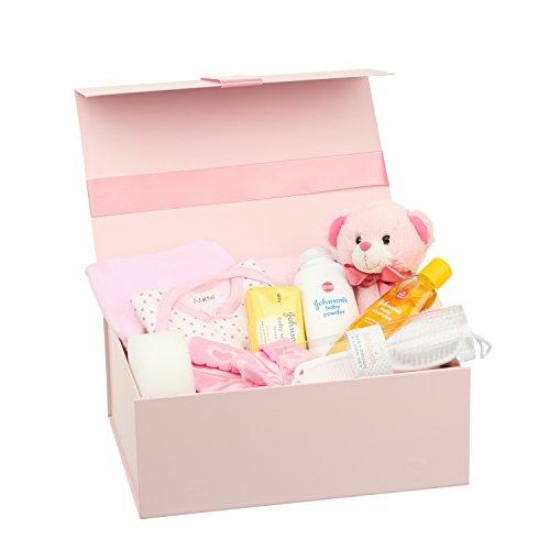 Erinnerungsbox, Babykleidung Mädchen, Teddybär und nützliche Geschenke Rosa Entworfen (Bruder Schwester Dusche)
