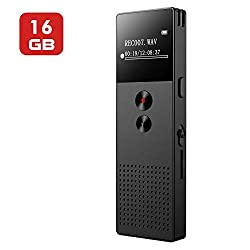 16GB Digital Voice Recorder, Mibao USB Professional Diktiergerät Voice Recorder mit MP3-Player, Voice Activated Recorder mit wiederaufladbarer Stereo-HD-Aufnahme Voice Recorder für Vorträge - Schwarz