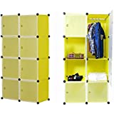 Kurtzy Wardrobe Cupboard closet Cabinet 8 Door Storage Organizer Rack Shelf for Clothes living room Bedroom with instruction CD