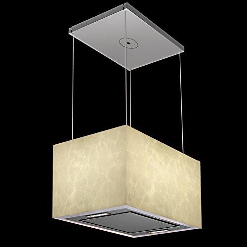 KKT KOLBE LUMINA60 Design-Inselhaube / Marmor Stein Design, leuchtend, illuminierte Insel-Dunstabzugshaube / App-Steuerung oder Tasten an der Unterseite / Umluft / Seilsystem freihängend