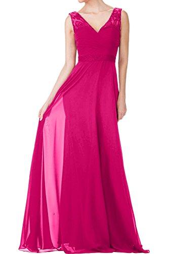 La_Marie Braut Weinrot Traeger Damen Abendkleider Ballkleider Partykleider Meerjungfrau Rock Bodenlang Dunkel Pink