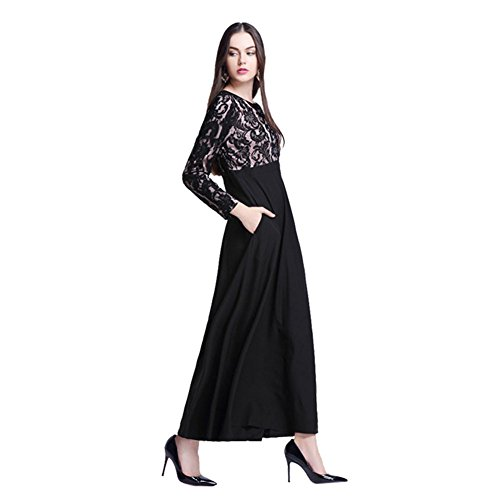 Meijunter Musulman Femme Islamic Dentelle Manche longue Maxi Dress Kaftan Abaya Dress Fête Robes Black