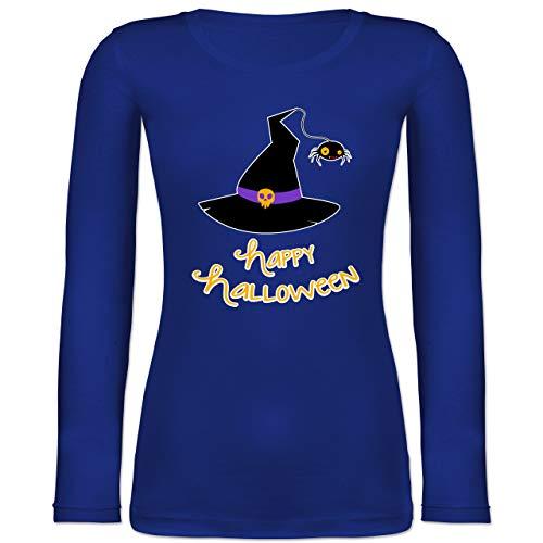 Shirtracer Halloween - Hexenhut Happy Halloween - XS - Blau - BCTW071 - Langarmshirt Damen
