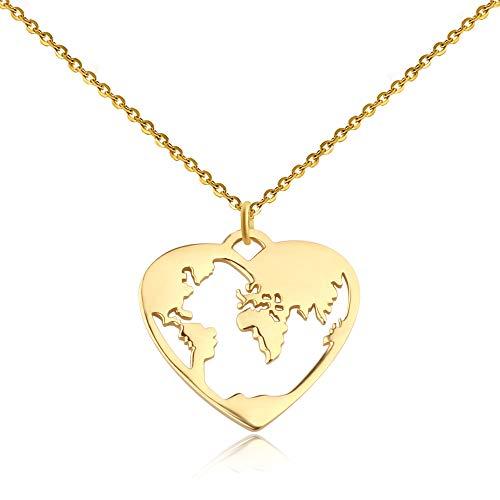 Good Designs ® Damen Weltkugel Halskette mit Weltkarte Anhänger in Herzform Kette Gold goldene Globuskette Herzkette golden goldfarben goldenekette Heart worldmap Necklace (Gold Ketten Frau)