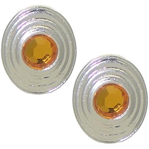 BRIA Clip del cristallo d'argento ambra orecchini - Orecchini Di Clip D'argento Ovali