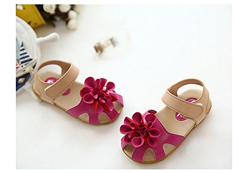 Gaorui Baby Mädchen Prinzessin Sommer Flache Sandalen mit Blumen Klettverschluss Rot