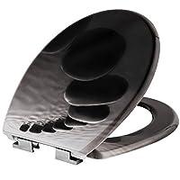 TecTake Toilettendeckel mit Absenkautomatik WC Brille Klobrille - diverse Modelle (Steine | Nr. 402260)