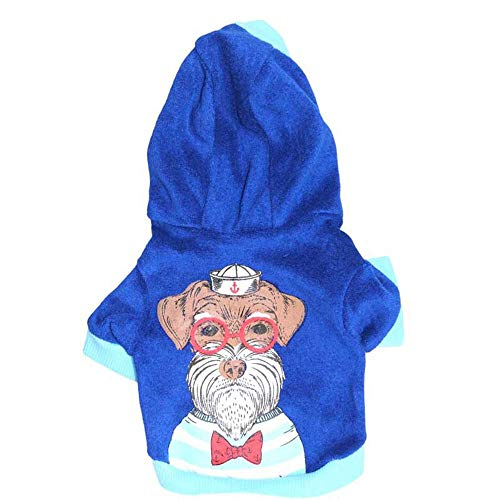 Gestreifte Shorts Kostüm - LNLW Puppy Clothes Pet Sweater Hundekleidung Short Velvet Hooded Pet Sweater Hund T-Shirts (Farbe : As shown, Size : M)
