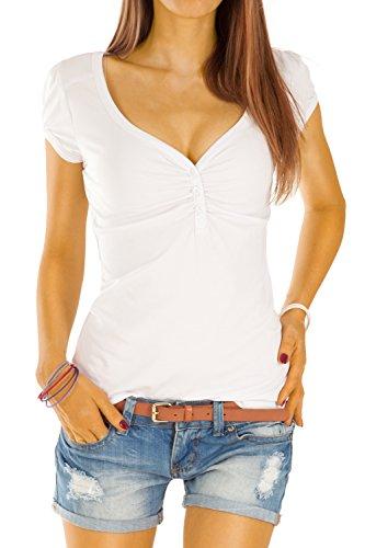 Bestyledberlin Damen T Shirt Oberteile Basic Top Shirt Stretch kurzarm mit Knöpfen t01p - S/36-38/M - Weiß