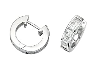 Elements Silver Ladie's Channel Set Square Cubic Zirconia Hoop Sterling Silver Earrings