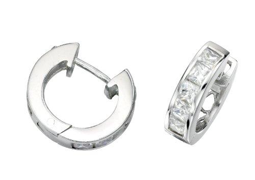 Elements Silver Ladie's Channel Set Square Cubic Zirconia Hoop Sterling Silver Earrings