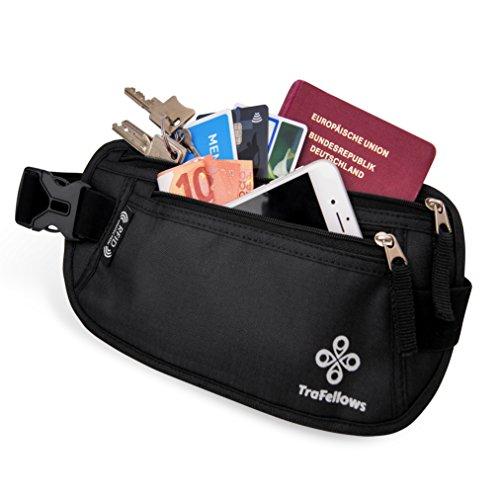 Cintura da viaggio portadocumenti di qualità con protezione RFID per uomo e donna | Cintura portasoldi leggera | Marsupio per sport e viaggi | Cintura portasoldi piatta e spaziosa (Nero)