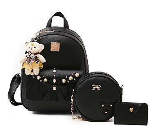 Mnory Nylon Schlicht Vintage Pu Leather Fashion Backpack Elegant Schul Tasche Casual Studenten City Rucksack Mädchen Niedliche Schoolbag Trendy Daypack Hochschule Kawaii Ranzen Damen Sporttasche