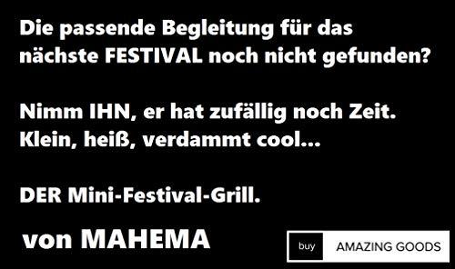 419wT%2BLdJtL - Tragbarer Mini Grill inkl. Grillzange von MAHEMA VEGGIE Geeignet Holzkohlegrill tragbar, BBQ Grill faltbar Festivalgrill klappbarer Grill