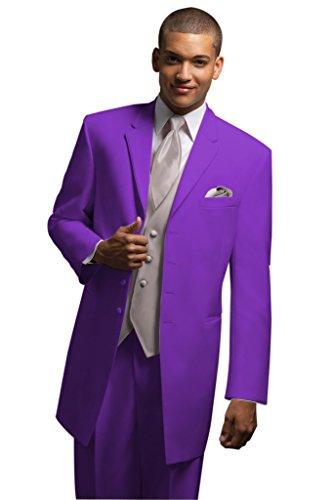MYS da uomo personalizzata sposi Pantaloni Lunghi Wedding Tuxedo Suit Gilet cravatta Set Viola Purple XL