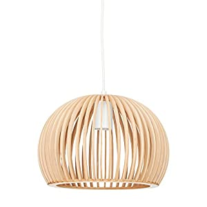 Relaxdays Hanging Lamp Sphere, Wooden Pendant Light, E27 Indoor Round Ceiling Light, HxWxD: 129 x 30 x 30 cm, Natural-White