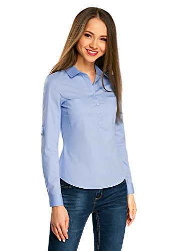 oodji Ultra Damen Hemd Basic mit Brusttaschen, Blau, DE 36/EU 38/S