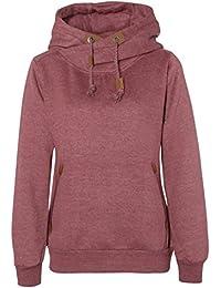 Sublevel Einfarbiger Damen Sweat-Hoodie | Basic Kapuzenpullover | Hoodie im Melange Muster mit tollen Details
