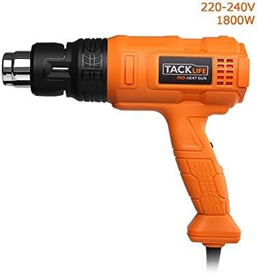 Tacklife HGP70AC, Avanzada, Pistola de aire caliente profesional, Potencia 1800w, Tres modelos ajustables (I 50℃ 500L/min; II 50-450℃ 250L/min; III 450-600℃ 500L/min)