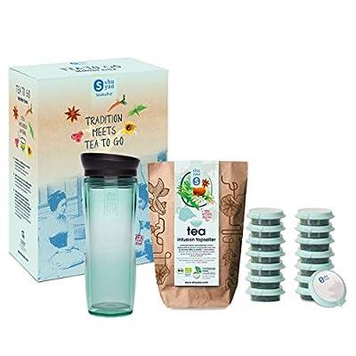 Shuyao Tea to Go Théière avec infuseur intégré + 5 x 3 Loser Bio Thé sans caféine, Jade 45 g