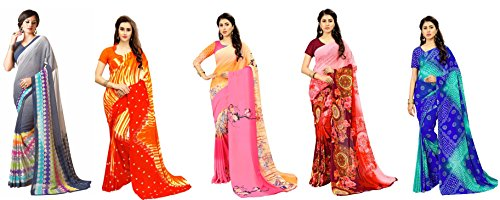 White World Women's Georgette Printed Saree Combo With Blouse Piece(RN_Combo_3+4+5+6+1)