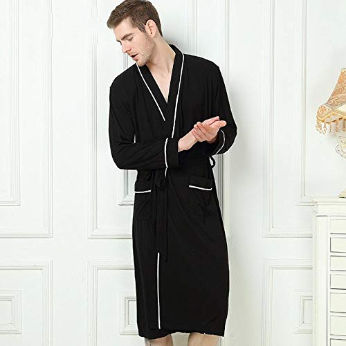 BKILF Bademantel Bamboo Fibre Men Bademantel Stain Robe Herren Nachtwäsche Weiches Nachthemd für Herren Pyjamas Gown Lounge Wear Naturbambus Sommer, Schwarz, XL