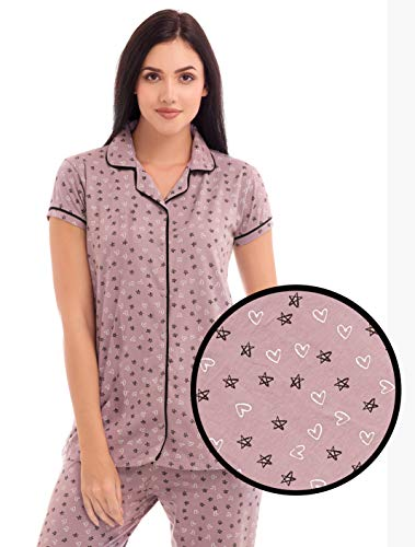 27b43be689 ZEYO Women's Cotton Purple & Yellow Star & Heart Print Stylish Night ...