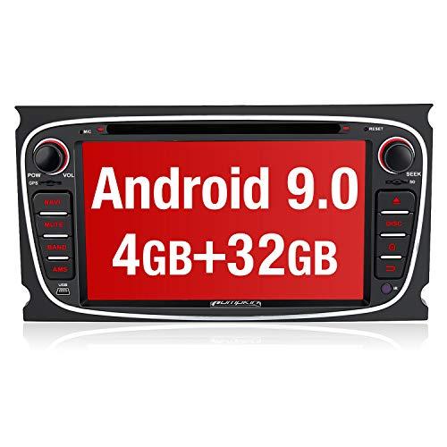 PUMPKIN Android 9.0 Autoradio Radio für Ford Focus Mondeo mit Navi 4GB Unterstützt Bluetooth DAB + CD DVD WiFi 4G Android Auto USB MicroSD 2 Din 7 Zoll Bildschirm Schwarz