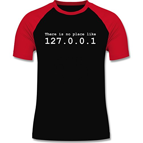 Programmierer - There is no place like 127.0.0.1 - zweifarbiges Baseballshirt für Männer Schwarz/Rot
