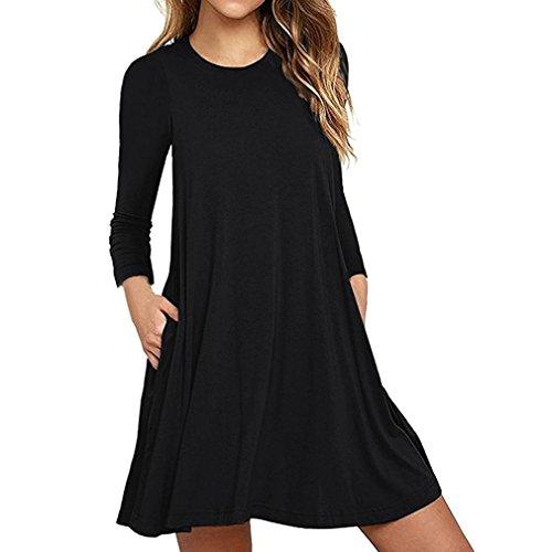 Damen Nachthemden Frauen Langarm Tasche beiläufige lose Kleid Nachtwäsche Nachthemden (XXL/44, Schwarz)