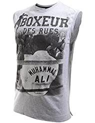 Boxeur Des Rues Fight Activewear Camiseta de cuello redondo, modelo Mohammed Ali gris Grey Mel Talla:XS