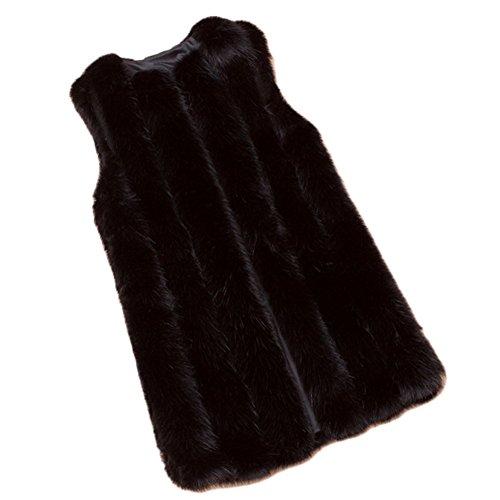 VLUNT Femme Chaud Epaise Fourrure Longue Fleece Parkas Manteau Veste Blouson Longue Black