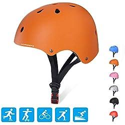 KORIMEFA Casque de Vélo pour Enfants 3-8 Ans Casque Réglable Équipement de Protection pour Cyclisme Skate Ski Patinage Scooter Trottinette BMX (Orange, S(48-54cm, recommandé pour 3-8 Ans))