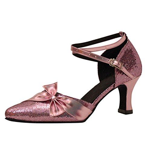 YFF Regalo donne danza scarpe ballo latino ballo tango danza scarpe 7CM Pink