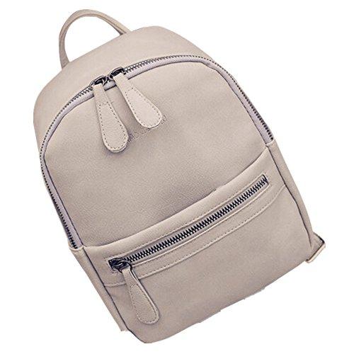 ESAILQ Les femmes Fille Rucksack épaule bookbags école Sac besace Voyage Sac à dos en cuir (Gris)