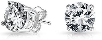 Bling Jewelry Conjunto de Ceta Redonda Hombre CZ stud Arete de Plata Esterlina 8mm