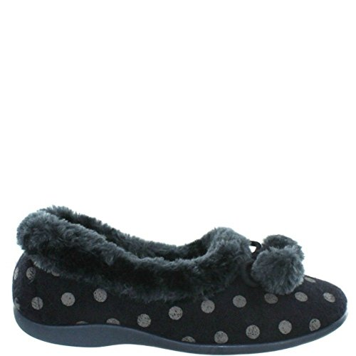 Sleepers Marge Donna Pompon Pois Cuff Pantofole Rosa Navy Knitted Textile